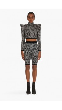Bm Cropped Bicolor Jacquard Knit Sportswear Top+Shorts