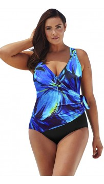 Sexy V-Neck Plus-Size One-Piece Swimsuit