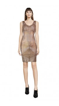 Herve Leger Zinnia Geometric Spliced Grain Foil Dress