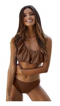 Sexy Tube Top One-Shoulder Ruffled Split Bikini