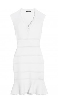 Herve Leger Bandage Dress Flared Scallop V Neck White