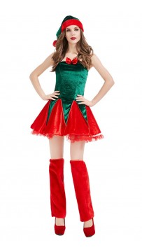 Christmas Party Costumes Christmas Elf Plush Dress