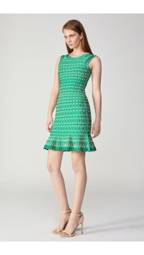 Herve Leger Bandage Dress O Neck A Line Green