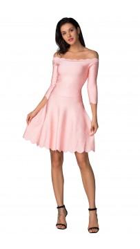 Herve Leger Bandage Dress Two Piece Boat Neck Flared Pink
