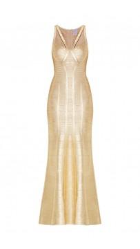 Herve Leger Bandage Dress Long Gown Foil Gold Yoke Strap