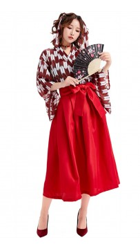 Japanese Loli Printed Pleated Skirt Kimono