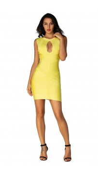 Herve Leger  Bandage Dresses O Neck Keyhole Open Back Lemon Yellow