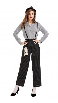 Halloween Female Mafia Striped Suit Dance Costume