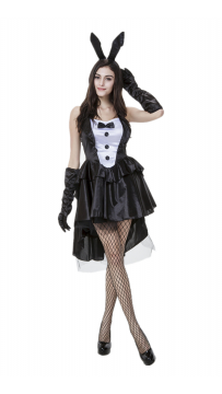 Sexy Patent Leather Strap Cute Bunny Costume