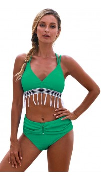 Sexy Bikini Solid Color Fringed High-Waisted Beach Swimsuit
