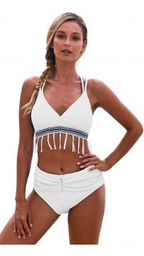 Sexy Solid Color Fringed High-Waisted Beach Bikini