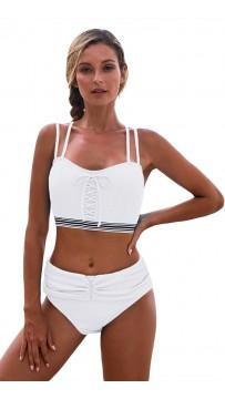 Sexy White Halter High-Waisted Split Bikini