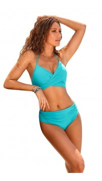 Solid Color Halter Ruffles Two Piece Bikini