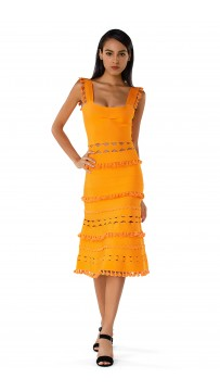 Herve Leger Bandage Dress Tank Flared Tassels Cut Out Yellow