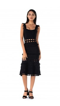 Herve Leger Bandage Dress Tank Flared Tassels Cut Out Black