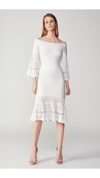 Herve Leger Bandage Dress Long Sleeve Off Shoulder Two Piece White