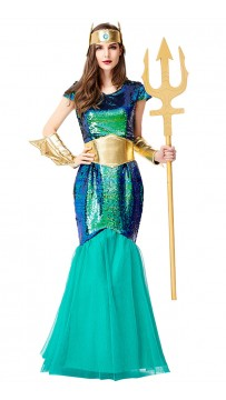Halloween Aquaman Cosplay Green Mermaid Costume