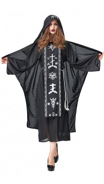 Halloween Black Magician Vampire Witch Costume