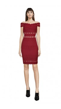 Herve Leger Bandage Dress Off Shoulder Red