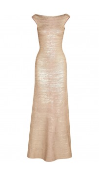 Herve Leger Gold Sophia Metallic Bandage Gown