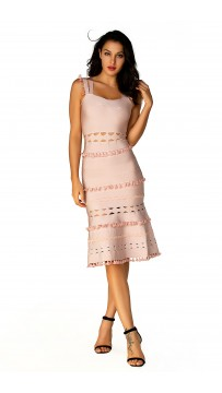 Herve Leger Bandage Dress Tank Flared Tassels Cut Out Pink