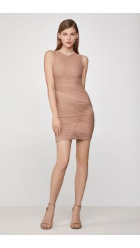 Herve Leger Bandage Dress O Neck Nude