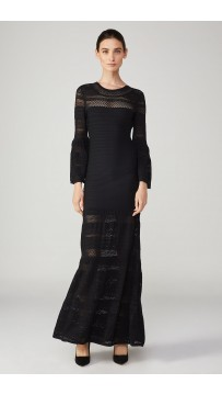 Herve Leger Multi-Textural Chevron Pointelle Gown