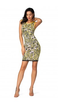 Herve Leger Rebekuh Caged Animal Jacquard Dress