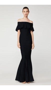 Herve Leger Eyelet Stripe Pleated Gown Black