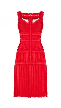 Herve Leger Eleanora Tulle Detail Dress