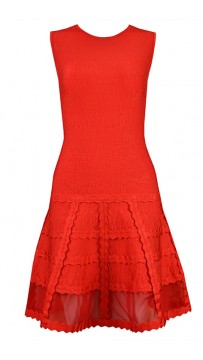 Herve Leger Bandage Dress Flared Gauze Red