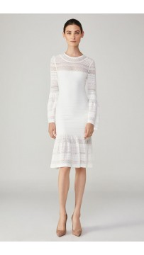Herve Leger Bandage Dress Long Sleeve Lace White