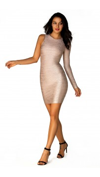Herve Leger A Long Sleeve Metallic Bandage Dress