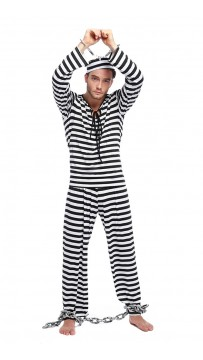 Jailbird Prisoner Men Fancy Dress Robber Convict Uniform Costume