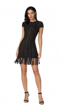 Herve Leger Kale Haylee Eyelet Fringe Dress Black
