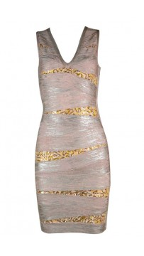 Herve Leger Bandage Dresses Foil Sequin V Neck Light Grey