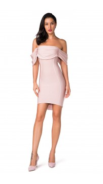 Herve Leger Bandage Dress Off Shoulder Pink