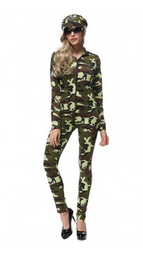 Halloween Party Female Drillmaster Camouflage Jumpsuits