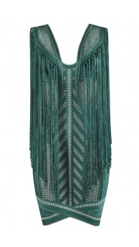 Herve Leger Renata Pointelle Crochet Fringe Dress