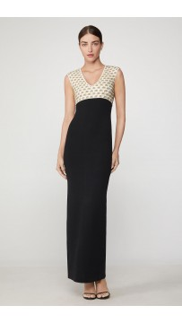 Herve Leger Fil Coupe Deep V Gown