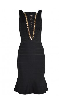 Herve Leger Klara Metal-Hardware Detailed Dress