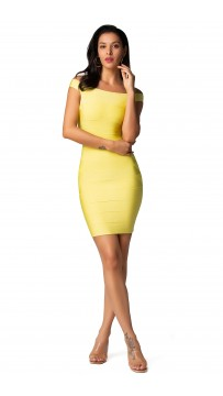 Herve Leger Bandage Dresses Off Shoulder Yellow Mini Dress