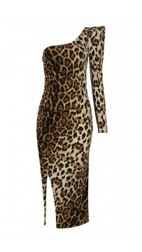 One-Shoulder Leopard-Print Celebrity Bandage Dress