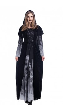 Halloween Costumes Vampire Witch Costume Black Maxi Dress
