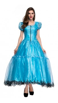 Halloween Alice Princess Dress Wonderland Blue Gown