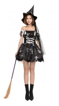 Halloween Rose Print Black Witch Tutu Skirt