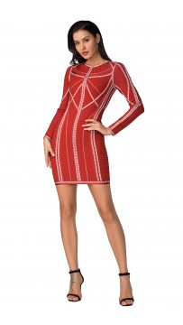 Herve Leger Bandage Dress Long Sleeve Jacqaured Red