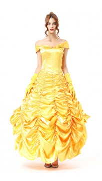 Halloween Fairy Princess Yellow Queen Dress