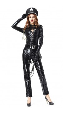 Halloween Bar Party Patent Leather Policewoman Uniform