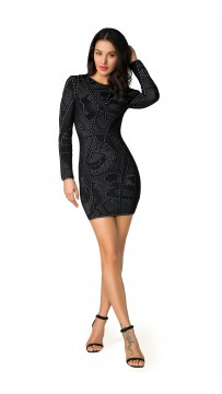 Herve Leger Bandage Dress Long Sleeve Black